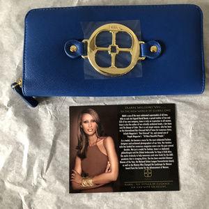 Iman global chic cobalt blue wallet/clutch logo